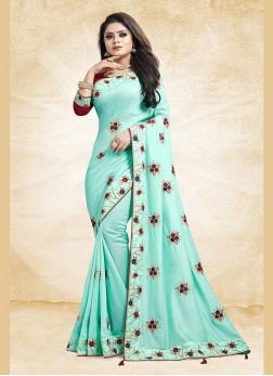 Orphic Art Silk Blue Embroidered Designer Traditional Saree