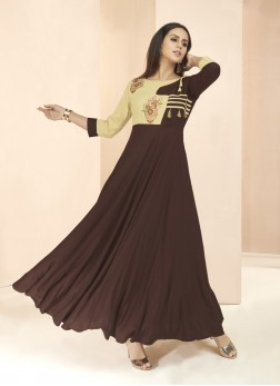 Orphic Brown Party Wear Kurti