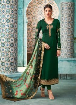 Orphic Faux Georgette Resham Churidar Designer Suit