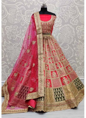 Outstanding Detailed Embroidery Work in Silk with Heavy Blouse and Dupatta Pink Bridal Lehenga Choli