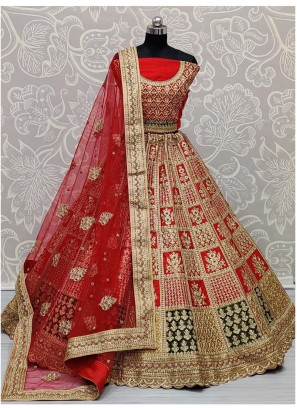 Outstanding Detailed Embroidery Work in Silk with Heavy Blouse and Dupatta Red Bridal Lehenga Choli