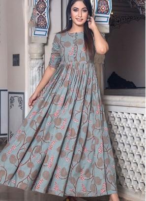 Outstanding Digital Print Muslin Designer Gown