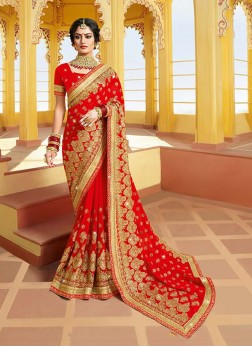 Outstanding Georgette Red Classic Saree