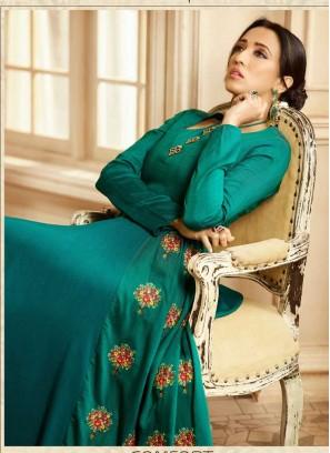 Outstanding Hand Work On Reyon kurti In Green Floor Lenght Gown
