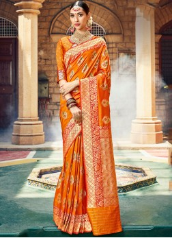 Orange Indian Wedding Banarasi Saree with blouse