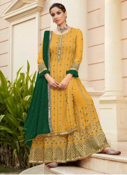 Outstanding Sharara Style Embroidery Work On Salwar Suit In Yellow - Green