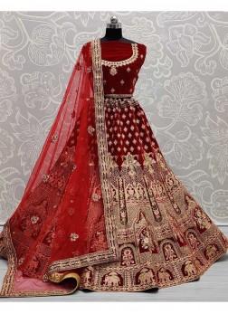 Overjoyed Bridal Visible Figure Work On Velvet Lehenga Choli In Red