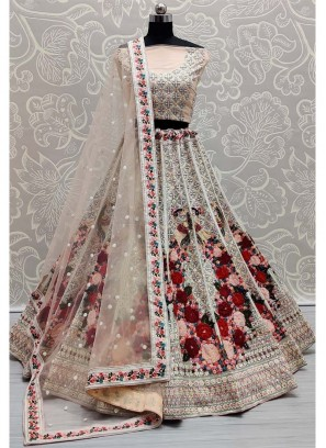 Pacharangi Colour Multi Thread Work Bridal Lehenga Choli In Cream