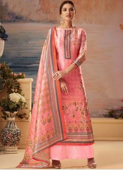 Palazzo Designer Salwar Kameez Printed Art Silk in Pink