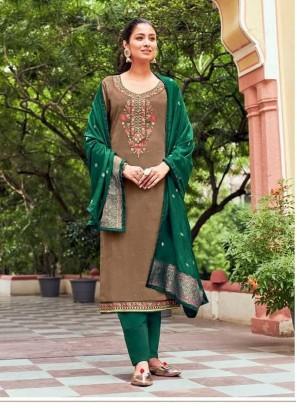 Pant Style Fancy Work Salwar Suit In Brown