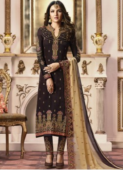 Pant Style Suit Embroidered Georgette Satin in Brown