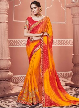 Paramount Embroidered Faux Georgette Multi Colour Shaded Saree