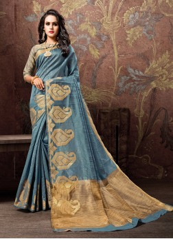 Paramount Woven Cotton Silk Blue Traditional Designer Saree