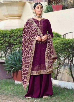 Party Wear Beauteous Dori Work On Georgette Salwar Suit In Wine