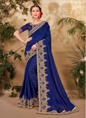 Party Wear Designer Cut Embroidery Work Silk Saree In Blue
