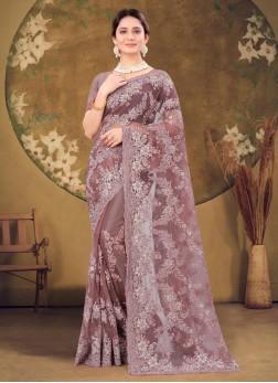 Party Wear Heavy Embroidery Net Saree In Dusty lav