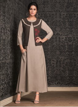 Party Wear Kurti Embroidered Rayon in Brown