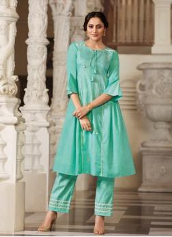 Party Wear Kurti Fancy Handloom Cotton in Sea Green