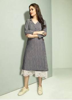 Party Wear Kurti Print Cotton in Grey