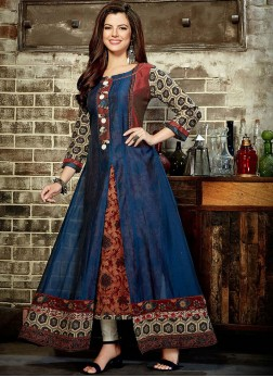 Party Wear Kurti Print Rayon in Multi Colour