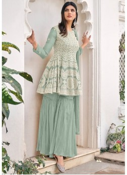 Party Wear Lacknowi Embroidery Salwar Suit In Ligh