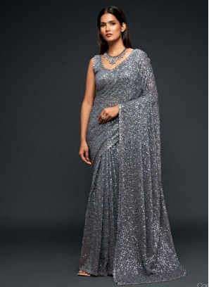 Party Wear Multiple Sequins Embroidery Saree In Silver