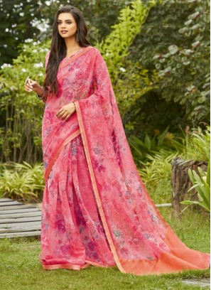 Party Wear Printed Saree On Organza In Pink Flower