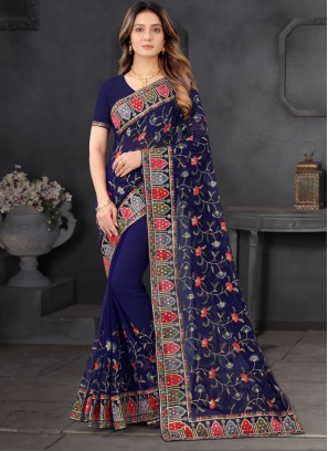 Party Wear Resham Embroidered Saree In Blue