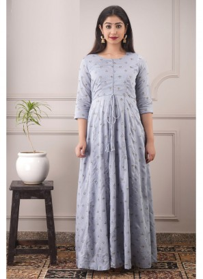 Partywear Designer Pure Chanderi Gown In Lightsteel Grey