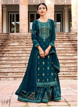 Partywear Embroidery Work On Lehenga Style Salwar Kameez In Teal