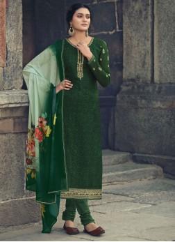 PartyWear Faux Georgette Straight Salwar Suit In Dark Green