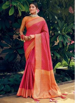 Patan Patola & Bandhani Design Silk Saree In Red