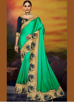 Patch Border Art Silk Designer Traditional Saree in Green