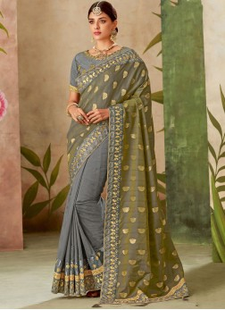 Patch Border Art Silk Traditional Designer Saree in Grey