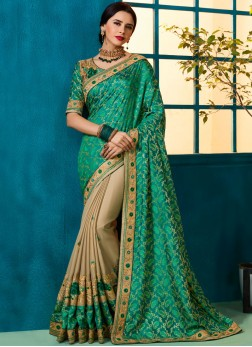 Patch Border Fancy Fabric Designer Half N Half Saree in Beige and Sea Green