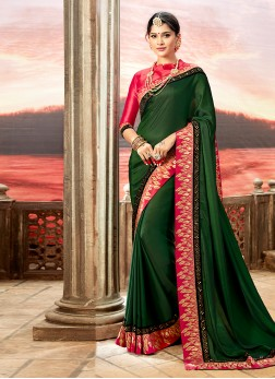Patch Border Faux Georgette Traditional Designer Saree in Green