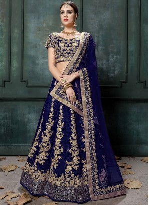 Patch Border Raw Silk Lehenga Choli in Blue