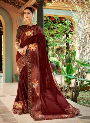 Patchwork Georgette Trendy Saree in Brown