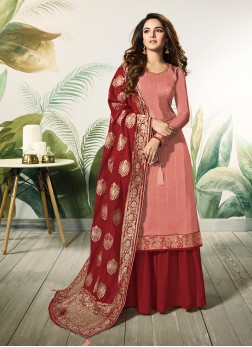 Peach and Red Ceremonial Satin Silk Designer Palazzo Suit