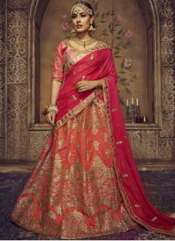 Peach Art Silk Resham Lehenga Choli