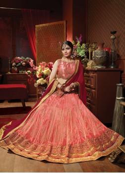 Peach Art Silk Wedding Lehenga Choli