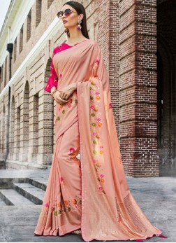 Peach Ceremonial Designer Traditional Saree