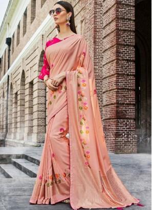 Peach Ceremonial Designer Traditional Saree