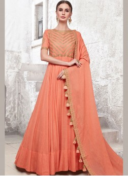 Peach Ceremonial Maslin Cotton Designer Gown