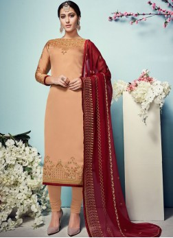Peach Color Churidar Salwar Suit