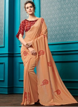 Peach Color designer blouse attached with Saree