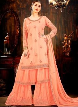 Peach Color Designer Palazzo Salwar Kameez