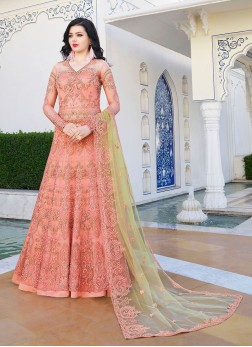 Peach Color Floor Length Anarkali Suit