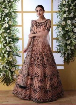 Peach Embroidered Party Designer Gown