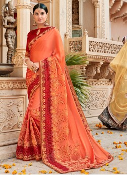 Peach Embroidered Traditional Saree